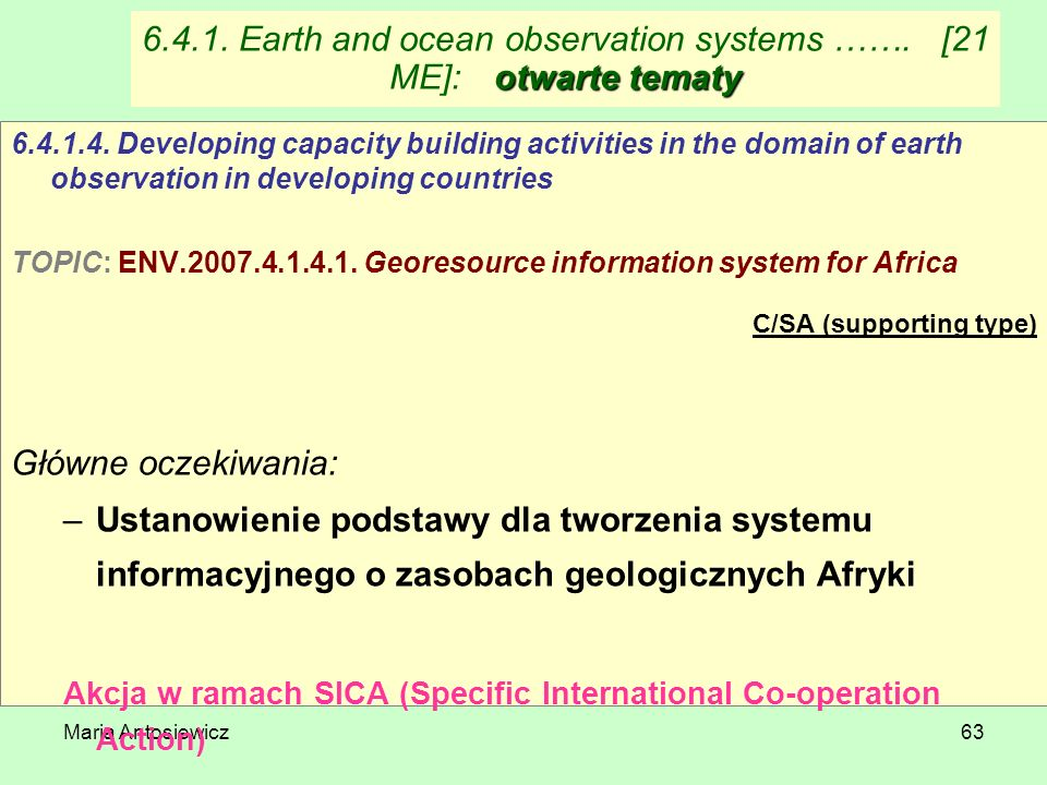 6.4.1. Earth and ocean observation systems ……. [21 ME]: otwarte tematy